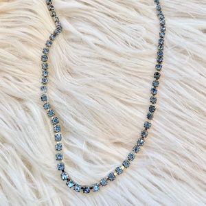 Blue Rhinestone Single Strand Necklace
